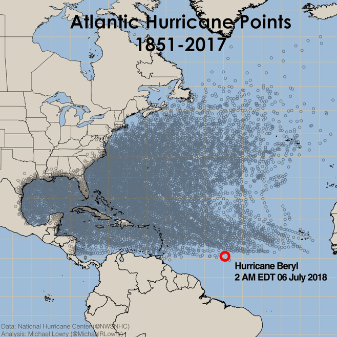 Atlantic Hurricane Points - 1851-2017