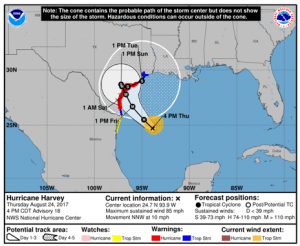 National Hurricane Center's Hurricane Harvey Track on Aug 24, 2017 at 4pm CDT