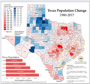 Texas population change 1980 to 2017 in Hurricane Harvey report